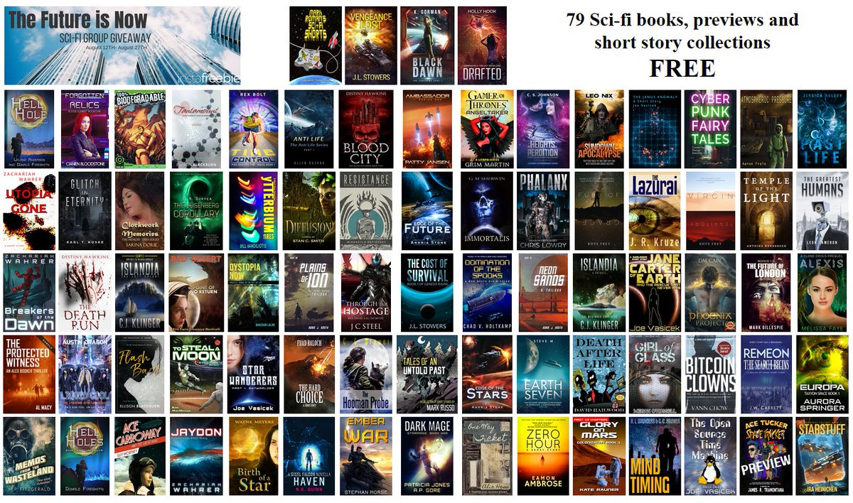 FREE – 79 Science Fiction novels, previews and short story collections.  @Instafreebie Group Giveaway: The Future is Now (12th-27th August 2018)      https:// claims.instafreebie.com/gg/Iy7iSGKW7Id Qn3vyWcxu &nbsp; …      Start with the first one and work your way through!     #scifi #freebies<br>http://pic.twitter.com/rboIuk9Hk3