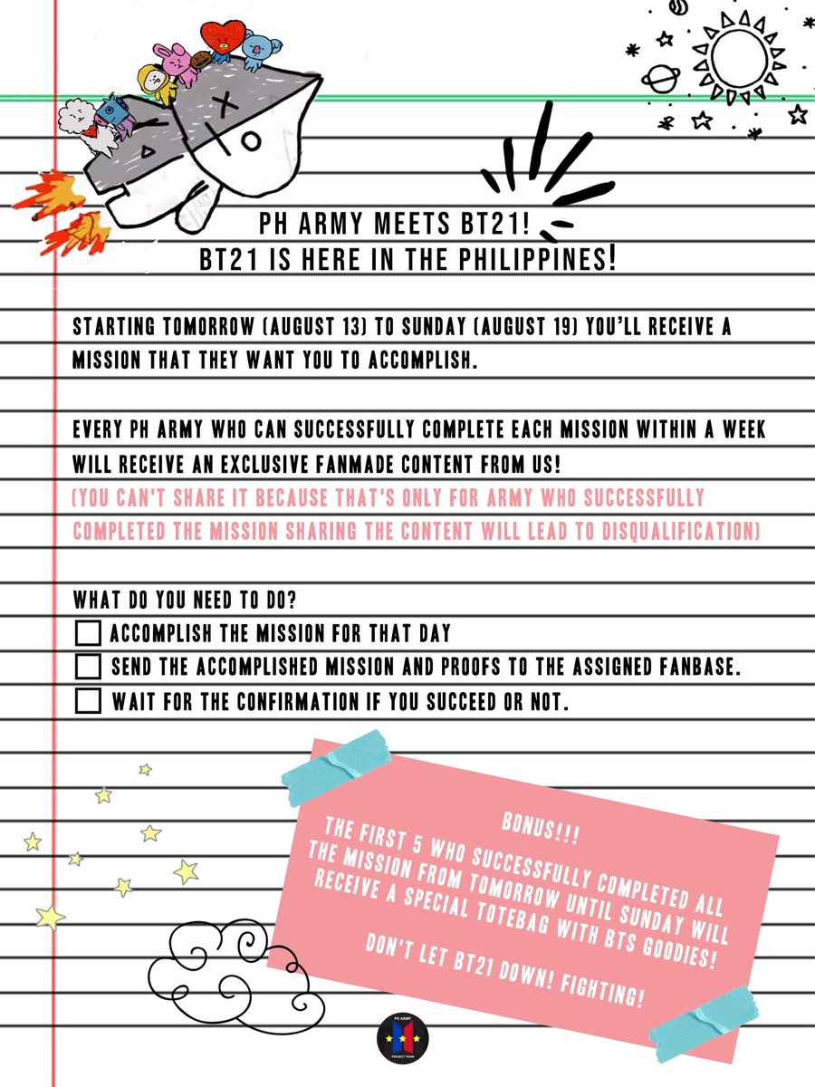PH ARMY MEETS BT21  We just finished Mang&#39;s mission! Now, our wise thinker KOYA is here for your mission!  Once completed, send your checklist &amp; proofs to the ff fanbases   @PHARMYPROJTEAM @bangtanboysph @ARMYGLOBAL_twt  Don&#39;t sleep off on Koya now! @BTS_twt #2YearsWithAgustD<br>http://pic.twitter.com/PPRtvX06hg