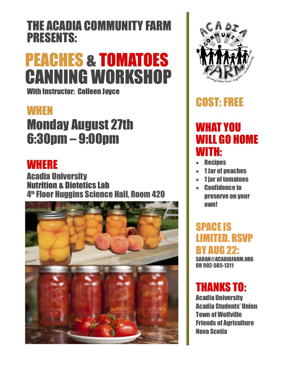 A upcoming no-cost canning workshop presented by the #AcadiaCommunityFarm is being held on the @AcadiaNutrition floor on Aug 27 from 6:30-9:00 pm. Join Colleen Joyce &amp; Acadia Community Farm Coordinator, Sarah Boudreau for this event. RSVP is required.<br>http://pic.twitter.com/n1ddNfEV42