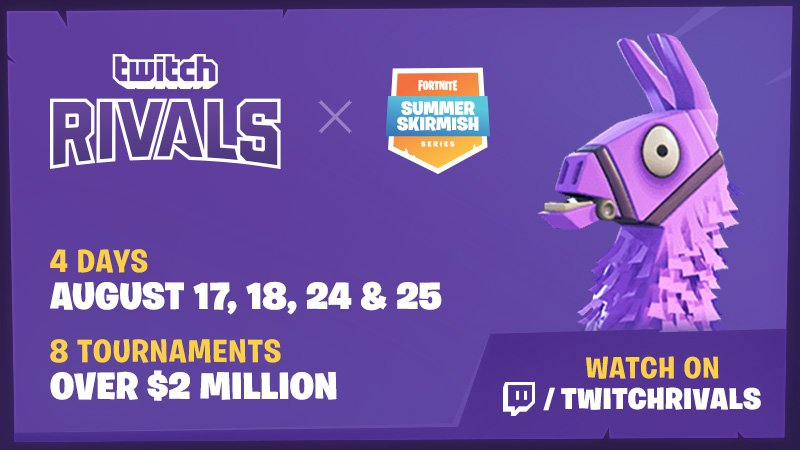 Get ready for the ultimate Victory Royale! Twitch Rivals x @FortniteGame #SummerSkirmish! 4 days. 8 Tournaments. $2 Million! Featuring your favorite streamers starting Friday Aug 17. #TwitchRivals blog.twitch.tv/join-us-for-th…