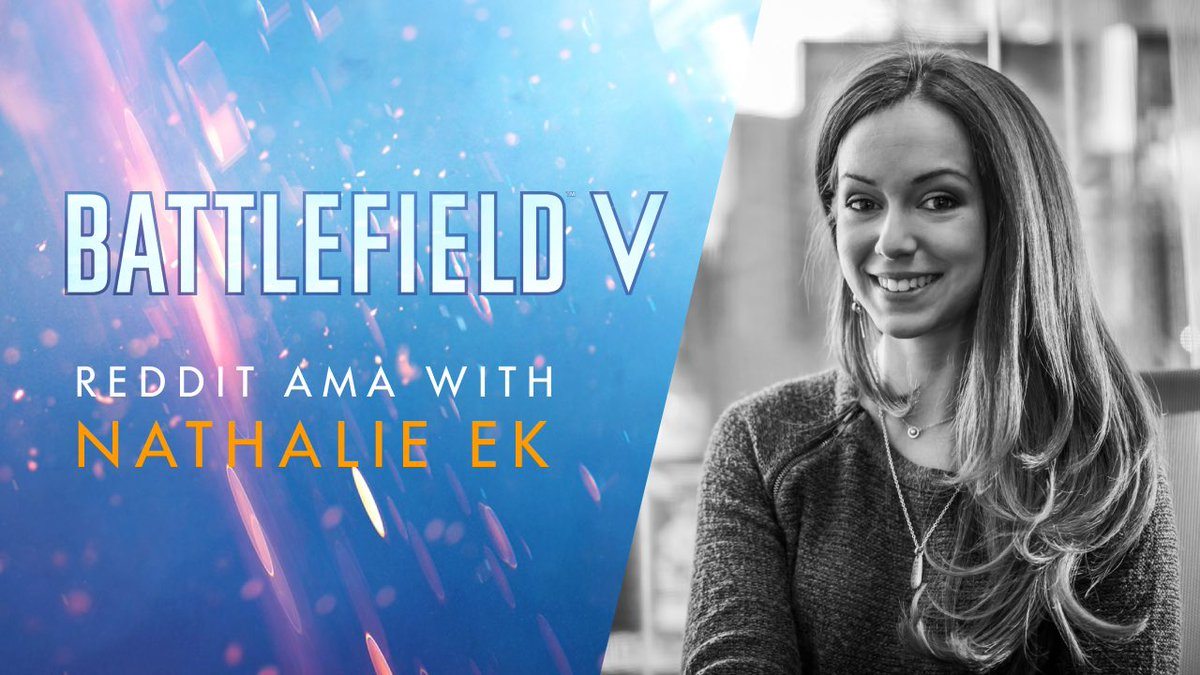 DICE UX Designer Nathalie Ek @Nat0_o is live on Reddit for an AMA. Join the conversation now and ask her anything about #Battlefield V that you have on your mind:  https:// bit.ly/2MjmUDB  &nbsp;   <br>http://pic.twitter.com/sqasj4Byk1