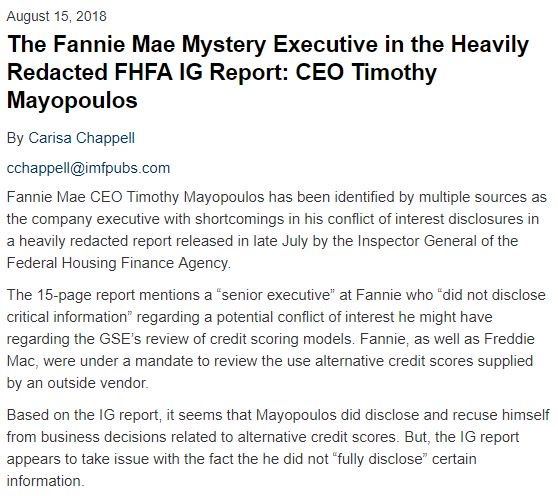 The Fannie Mae Mystery Executive in the Heavily Redacted FHFA IG Report: CEO Timothy Mayopoulos #FannieGate<br>http://pic.twitter.com/i37ZkOZuvz