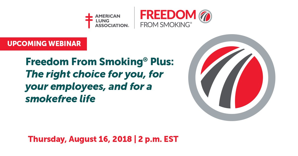 EMPLOYERS: Join our webinar this Thursday, August 16 at 2 p.m. ET to learn how implementing a Freedom From Smoking program can help your employees #quitsmoking while helping your bottom line. https://t.co/KxYwFST3hK