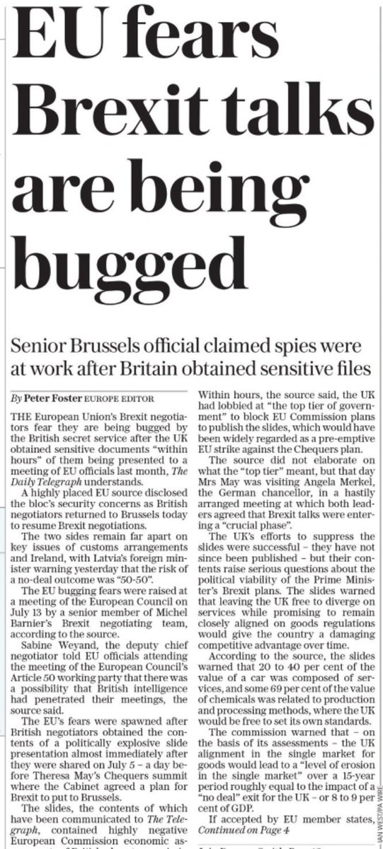 The spy EU bugged me? @Telegraph #tomorrowspaperstoday
