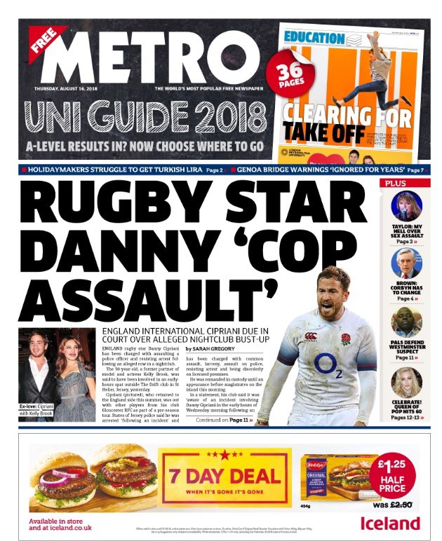 Thursday's Metro: Rugby star Danny 'cop assault' #tomorrowspaperstoday #bbcpapers (via @MsHelicat) https://t.co/ab24Ku6lj9