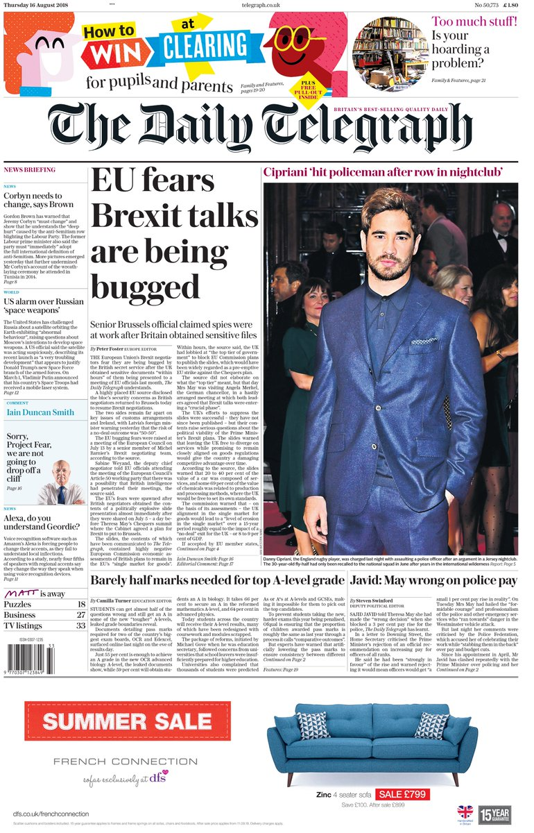 The front page of tomorrow's Daily Telegraph: 'EU fears Brexit talks are being bugged' #TomorrowsPapersToday