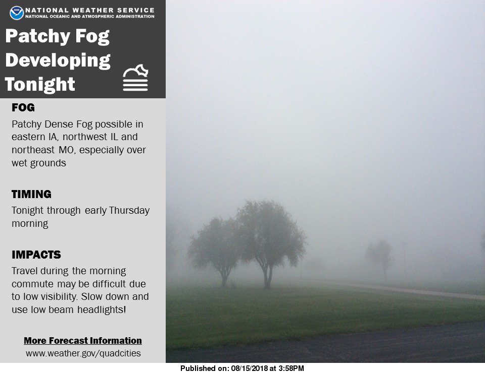 Areas of patchy dense fog will be possible tonight through early Thursday morning. #iawx #ilwx #mowx