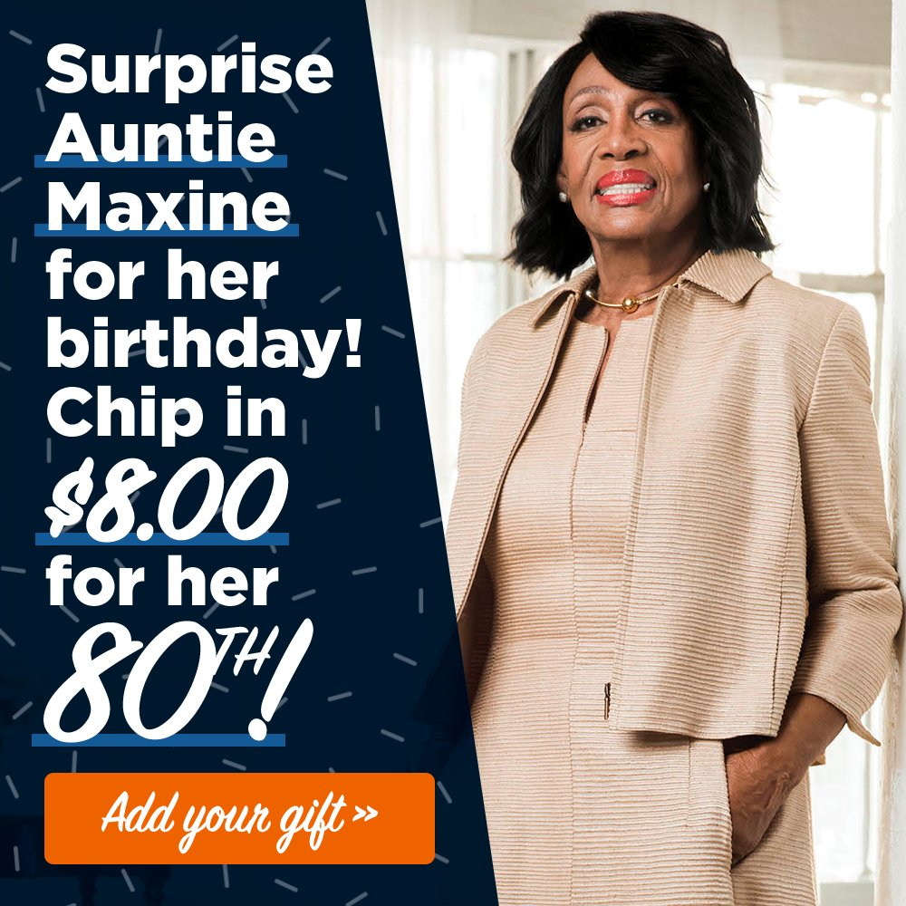 I want to wish Congresswoman Maxine Waters a happy 80th birthday!!! She&#39;s the type of champion and fighter we need in Congress. Show her some love on her birthday and support Congresswoman Waters reelection campaign.  https:// secure.actblue.com/donate/waters- birthday &nbsp; …  #MaxineWaters<br>http://pic.twitter.com/ohwmeV7PLg