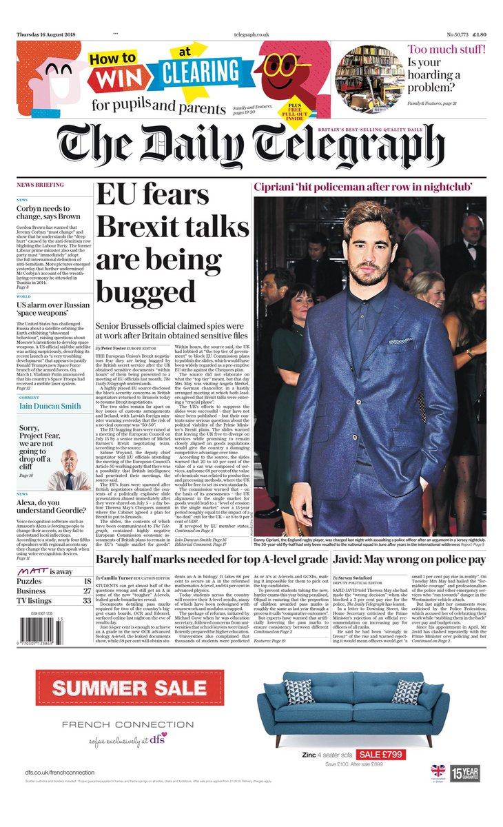Thursday's Telegraph: EU fears Brexit talks are being bugged #tomorrowspaperstoday #bbcpapers (via @MsHelicat) https://t.co/zdxMwuG7oF
