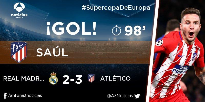 ¡GOL de Saúl (Atlético)! Real Madrid - Atlético 2-3. En directo: https://t.co/K4Lckx8E9W
