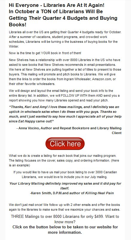 If you get a solicitation like this, trash it. It&#39;s a complete waste of money. Librarians who receive this mailing will probably treat it as spam (if it gets through their spam filters at all). <br>http://pic.twitter.com/Xzi2kz4yAw