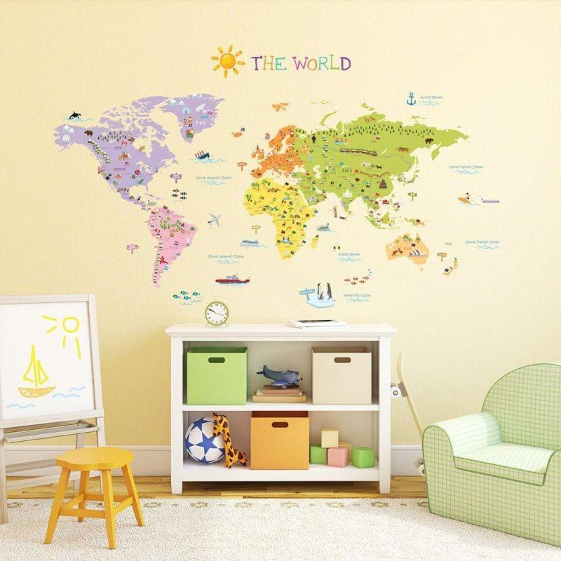 Onlmaps on twitter the world map wall sticker for kids by never miss a moment gumiabroncs Image collections