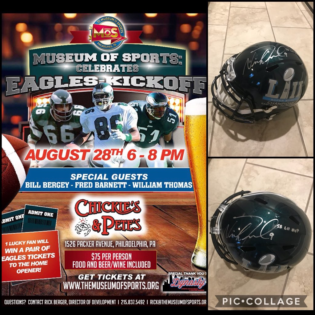🚨EVENT ANNOUNCEMENT🚨  Celebrate Eagles Kickoff with @MoSPhilly August 28th @ChickiesnPetes with Fred Barnett, Bill Bergey and Willie T.  One lucky fan will win 2 tix to home opener vs Falcons!   Purchase tix: http://the-museum-of-sports.ticketleap.com/eagles-kickoff/  #EaglesCamp #FlyEaglesFly #phillyphilly