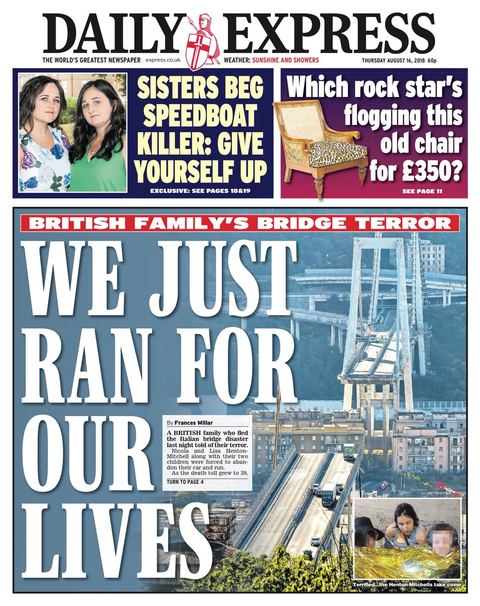 Thursday's Express: We just ran for our lives #tomorrowspaperstoday #bbcpapers (@via MsHelicat) https://t.co/NsOrE3LFsI