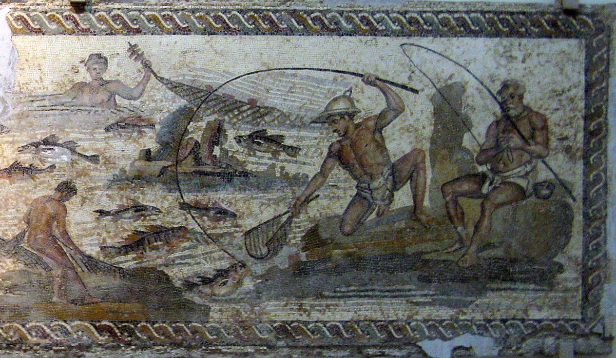 Nilotic mosaic showing fishing scenes, National Museum, Tripoli, Libya. Two men fish with rods, one using a hand net to collect a fish. One man in the water holds a seine net with floats to capture fish; a man on the bank pulls in the net #Fishing #RomanLibya #RomanArchaeology<br>http://pic.twitter.com/qyzJoIE7lL