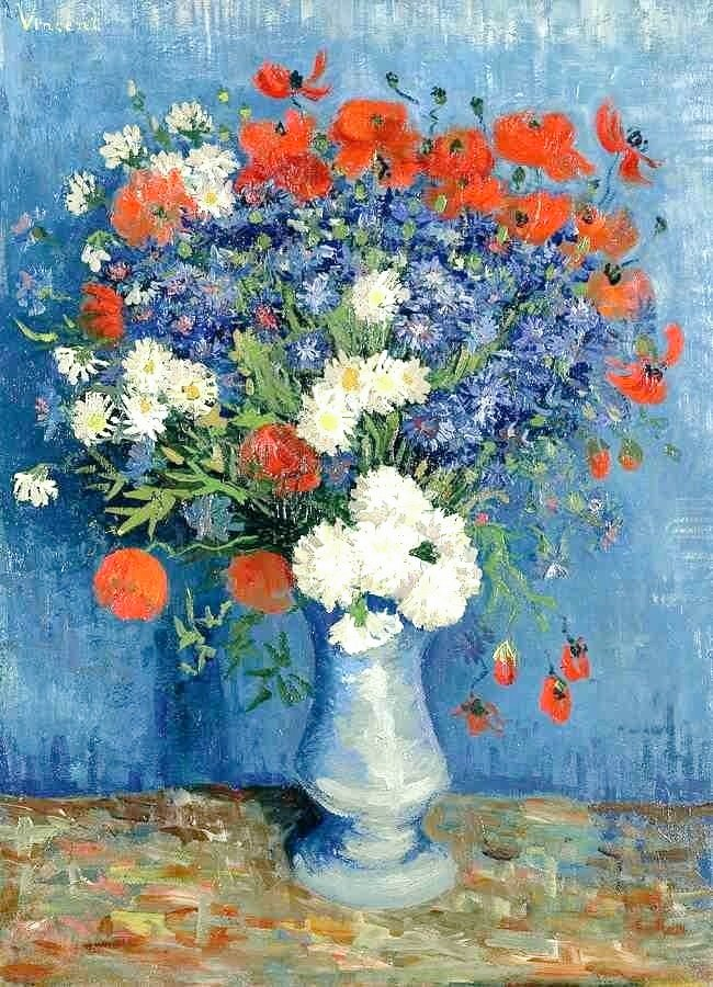 Yoongi: Vincent van Gogh, Vase with Cornflowers and Poppies, 1887   @BTS_twt #2yearswithAgustD #LOVE_YOURSELF <br>http://pic.twitter.com/MzPsdeYwAW