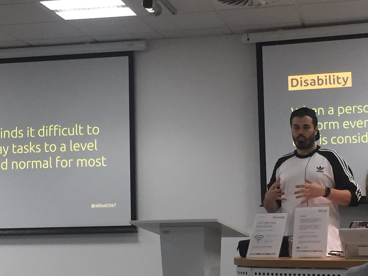 Enjoying my first @SunderlandDigi event by @abbott567 on empathy in accessibility, really interesting to learn about the small changes we can make to improve UX for ALL users <br>http://pic.twitter.com/id0MTPEbet