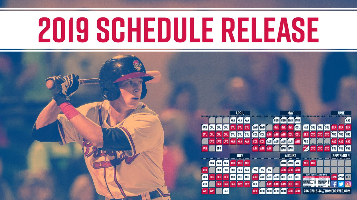 """rome braves on twitter: """"the 2019 schedule is here! it's never to"""