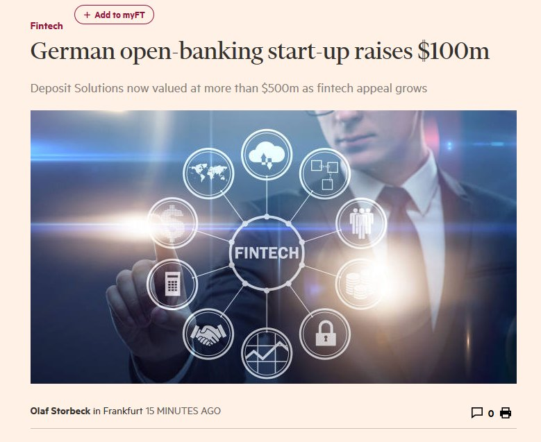 Great article by @FinancialTimes about our new funding round #OpenBanking #fintech   https://www. ft.com/content/0c81c4 5e-a08d-11e8-85da-eeb7a9ce36e4 &nbsp; … <br>http://pic.twitter.com/FHh0Jzzd1L