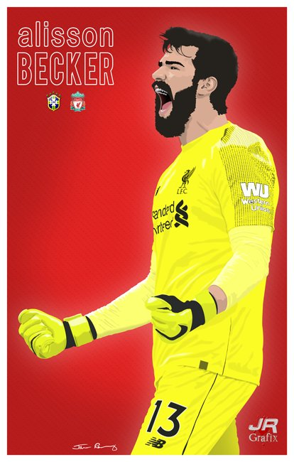 Just completed work on this vector graphic of @LFC @Alissonbecker using photoshop. Likes and retweets appreciated #LFC #retweet #digitalart @Tino_LFC @BrazilStat @LFCRetweet @lfcretweets @ConArtistLFC @AnfieldAgenda @TheRedmenTV #GraphicDesigner<br>http://pic.twitter.com/NGaWRqHRAR