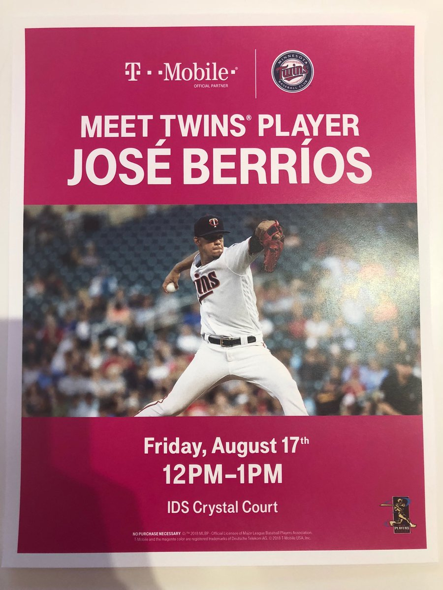 Stop by my store this Friday to meet/get an autograph from ⁦@Twins⁩ pitcher José Berríos and hang out with ⁦@MeatSauce1⁩ (11a-1p) — ⁦@TMobile⁩ #areyouwithus ⁦@MLB⁩  ⁦@KFAN1003⁩ ⁦@BuddeGail⁩ ⁦@jwedlund⁩<br>http://pic.twitter.com/2GEibpd7a0 &ndash; à IDS Center
