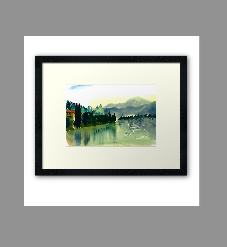 Lake Como on wall art in my online Redbubble shop  http:// goo.gl/FUmfTX  &nbsp;   Posters and prints from a hand-painted watercolour landscape. (Framed print shown). #lakecomo #Italy #wallart #decor #watercolor #watercolour #print #interior #home #art #landscape #painting #giftideas<br>http://pic.twitter.com/eDx6DEuFdL