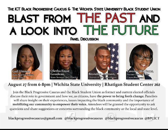 BPC will be teaming up with the @WichitaStateBSU to get students and community members more politically engaged in the Wichita community.  This is a great way to meet some political leaders devoted to change. Come out!   Attendees will be granted the opportunity to ask questions.<br>http://pic.twitter.com/Dd0XtudXAs
