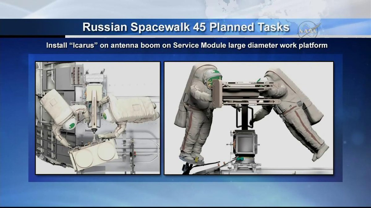 The spacewalking cosmonauts Oleg Artemyev and Sergey Prokopyev are working to install the Icarus animal-tracking experiment supported by @DLR_en and @roscosmos space agencies. #AskNASA https://t.co/yuOTrZ4Jut