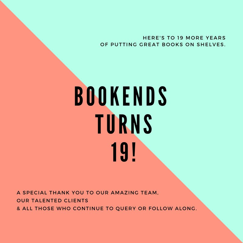 Here&#39;s to 19 years!  https://www. instagram.com/p/BmgpF9rhBv4/ ?taken-by=bookends_literary &nbsp; …   *** #TeamBookEnds #Publishing #LiteraryAgency #LiteraryAgents #Anniversary<br>http://pic.twitter.com/DHGaevfDQ0