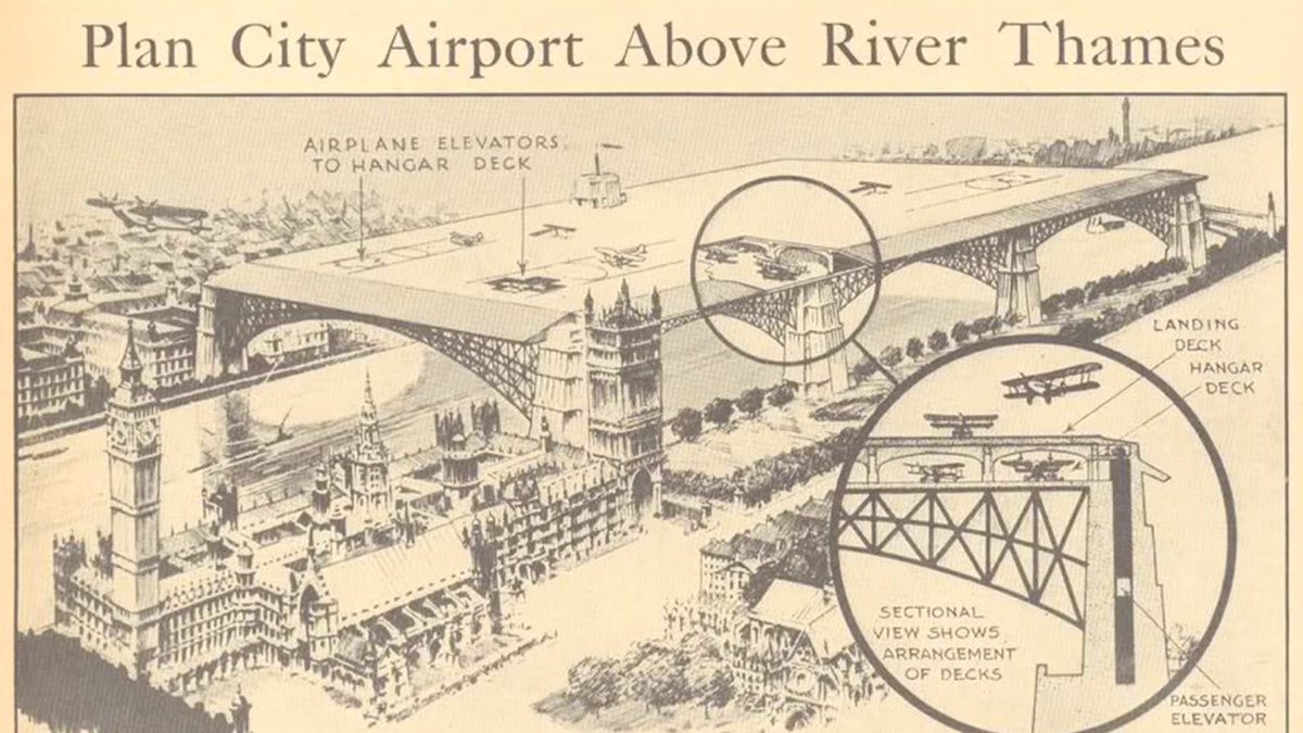 FANTASTIC — Pre WW II, London considered an airport above the river Thames,  in case flying would take off, just like the use of cars:  https:// youtu.be/AbAal7jIWQ4  &nbsp;   via @jayforeman<br>http://pic.twitter.com/rb4xPEH9Kt