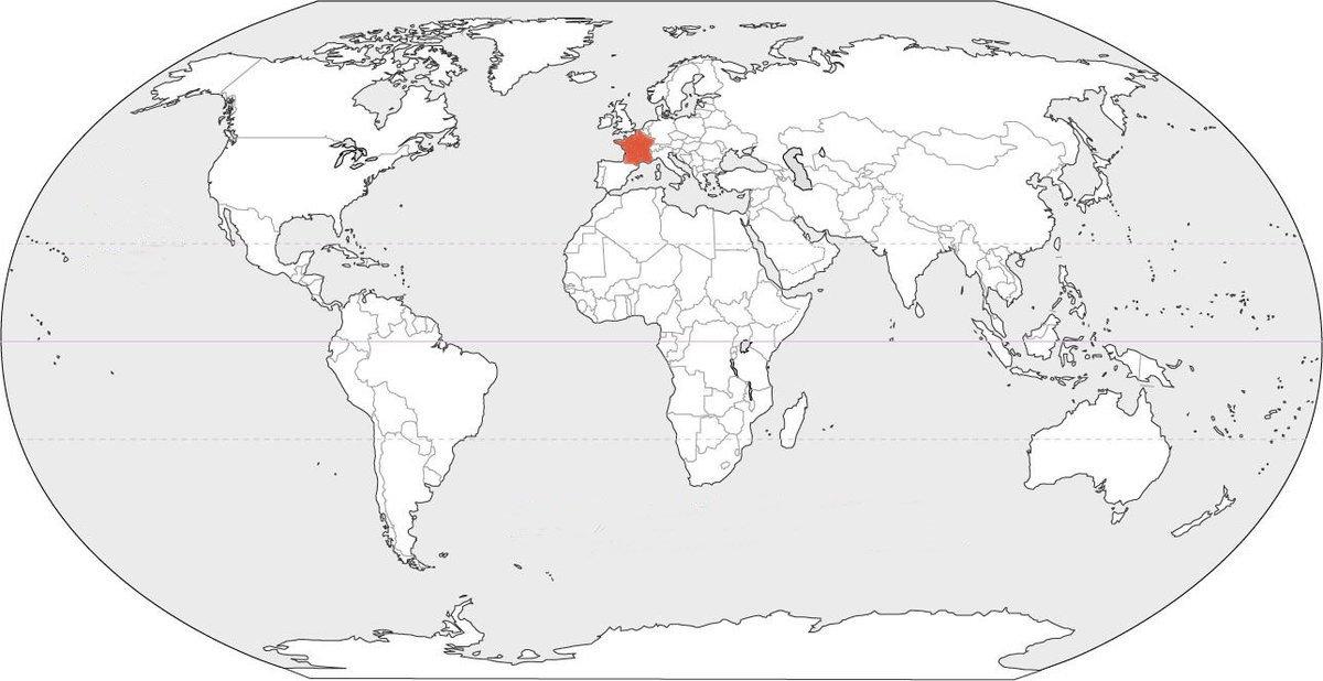 Infographie intéressante sur les pays vainqueurs de la Coupe du monde 2018 (en rouge). On ne voit pas bien à cause de l'échelle, mais la Belgique n'est pas coloriée.