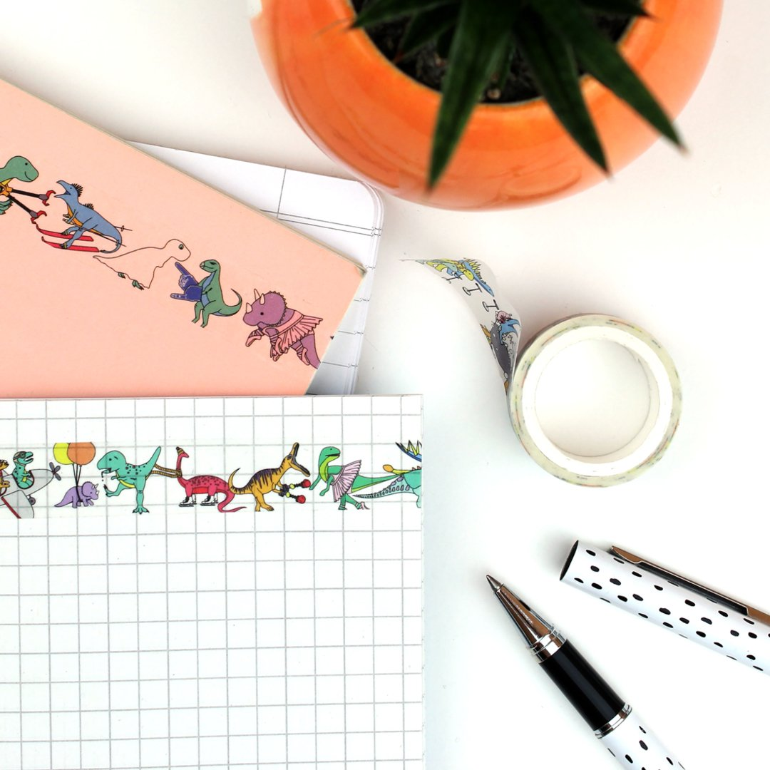 Possibly my favorite product to date! Dinosaurs doing stuff WASHI TAPE!!   https:// charlottefilshie.com/dinosaur-washi -tape &nbsp; …  #HandmadeHour @HandmadeHour #washitape <br>http://pic.twitter.com/leWxGDsk9C