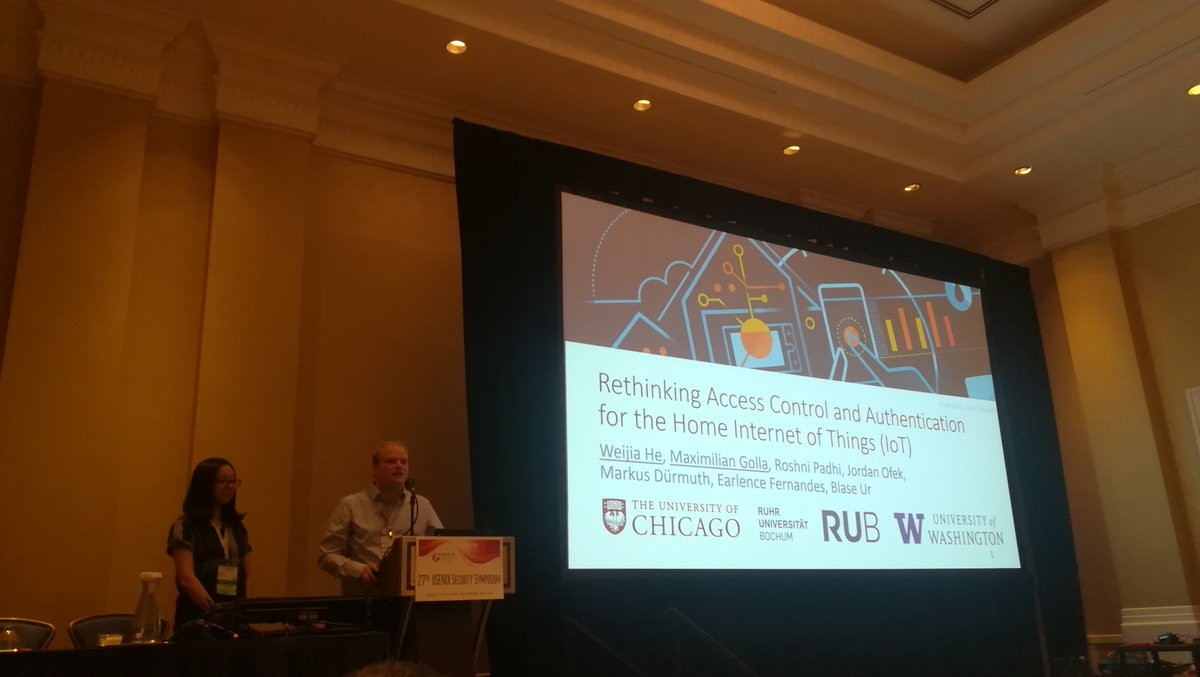 Right now at #usesec18 Track 1, @m33x and @he_weijia are presenting their insightful work on Rethinking Access Control and Authentication for the Home Internet of Things #IoT @USENIXSecurity @ruhrunibochum @UChicagoCS @HGI_Bochum  https://www. usenix.org/conference/use nixsecurity18/presentation/he &nbsp; … <br>http://pic.twitter.com/1ueiCx1I4T