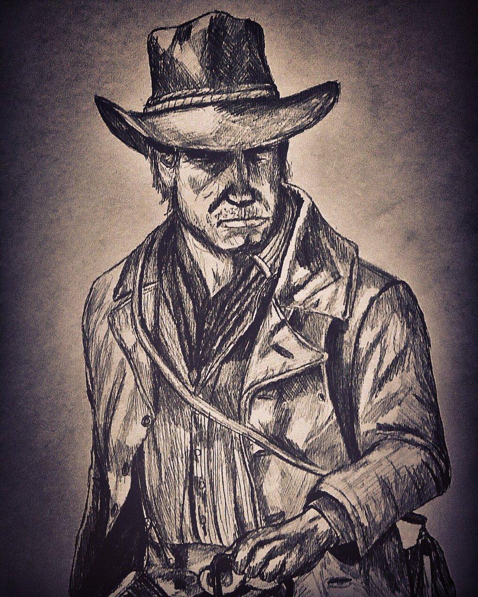 Here&#39;s a quick drawing I did of Arthur Morgan the new protagonist of RED DEAD REDEMPTION 2 I hope you enjoy! #RedDeadRedemption #RedDeadRedemption2 #RedDead #outlawsforlife #arthurmorgan  . @LegacyKillaHD @RedDeadBase @RDonlineNews @RedDeadNet @RDR2VideosFans @RockstarGames<br>http://pic.twitter.com/1XJILplv40