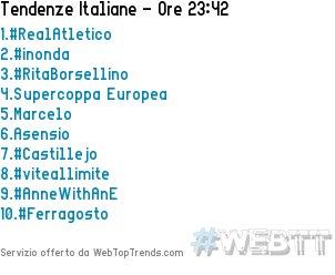 1.#RealAtletico2.#inonda3.#RitaBorsellino4.Supercoppa Europea5.Marcelo15/08/2018 23:42 #WebTT  - Ukustom