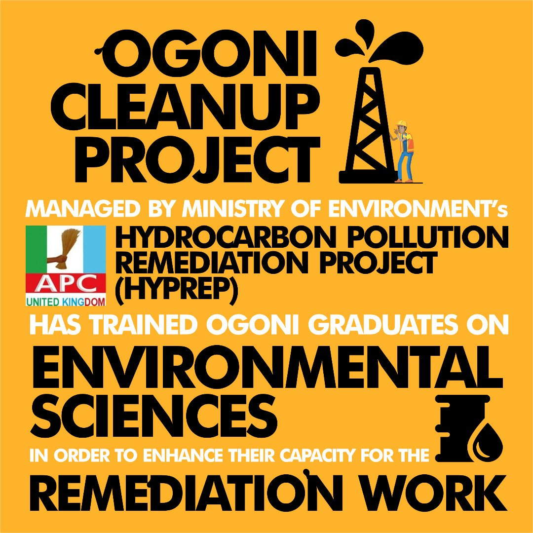 The Ogoni cleanup is being managed by the Hydrocarbon Pollution Remediation Project (HYPREP) &amp; since its commencement, the @MBuhari-led administration has trained graduates from Ogoni who studied Environmental Sciences in order to enhance their capacity for the remediation work. <br>http://pic.twitter.com/cAXLUYeFnB