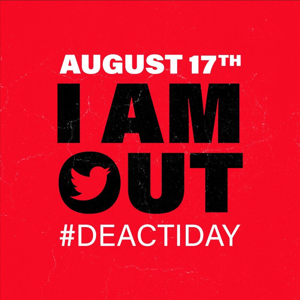 Twitter is broken. You deserve better than an app that tolerates and welcomes the spreading of abuse and misinformation. Being part of this is not doing us any good. Personally, politically, socially. For a day, a week, forever: your call. It's just a good time to go. #DeactiDay