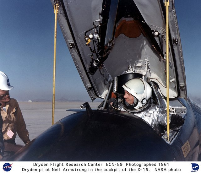 Neil Armstrong took his first rocket-powered flight (of 4, total) in the X-1B #OTD in 1957. He then became one of the first 3 @NASA research pilots to fly the X-15 (also rocket-powered). Here&#39;s Neil pictured in the cockpit of the X-15. <br>http://pic.twitter.com/3L8sqPuHfV