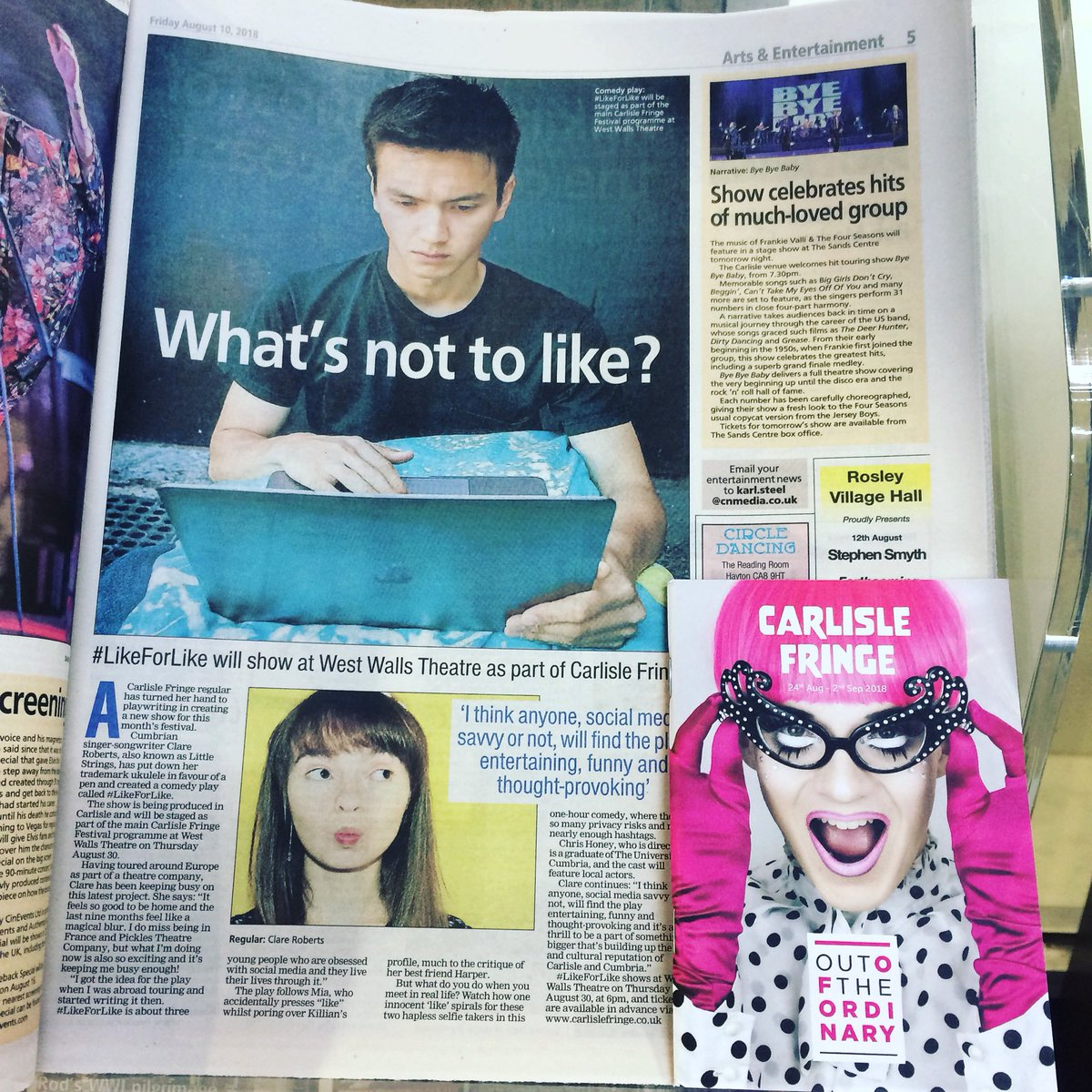 Have you bought your copy of this week's @newsandstar yet? There's a great article in it about our show #LikeForLike that is coming to @carlisle_fringe 30th August &amp; writer @LittleStringsC! Get your tickets at   http://www. carlislefringe.co.uk/portfolio/like forlike-30th-aug/ &nbsp; …  or at the Carlisle   #CarlisleFringe<br>http://pic.twitter.com/91sGxI4GZr