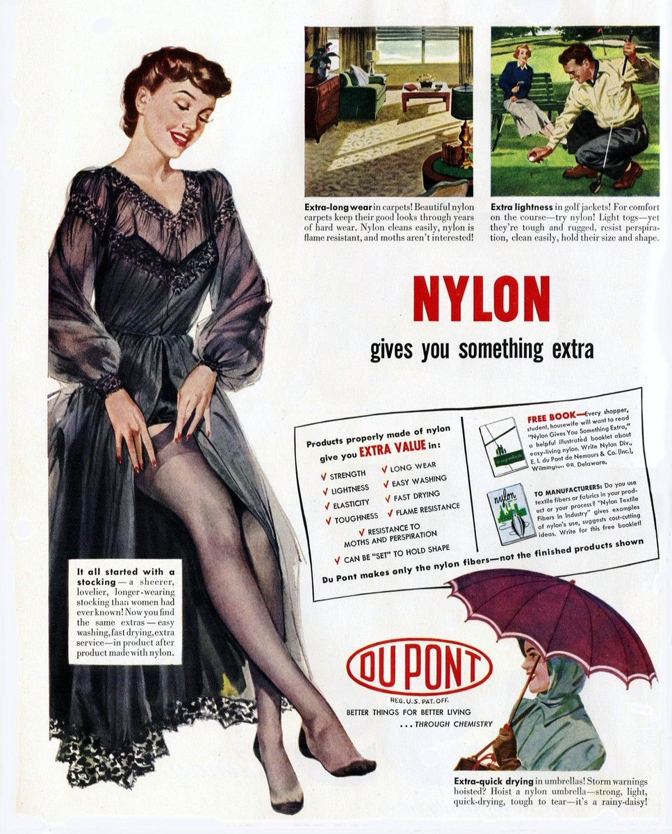 When nylon was first invented in 1939, it found instant success as a more durable alternative to silk stockings. Yet when World War II broke out, nearly all nylon production was redirected to the war effort, mainly the manufacturing of parachutes and tents. As soon as... (1/2) <br>http://pic.twitter.com/8gZIYftBvd