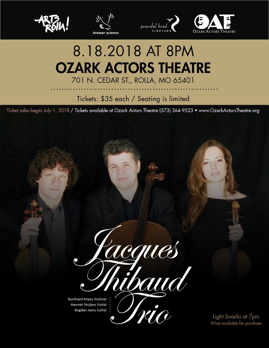 test Twitter Media - Three more days! By invitation of Brewer Science, the Jacques Thibaud Trio will be at the Ozark Actors Theater on August 18, 2018.  Learn more about the Jacques Thibaud Trio at https://t.co/9AwYic4w45 and order tickets at https://t.co/HKytkp1VlS. https://t.co/SurxzsAFZP