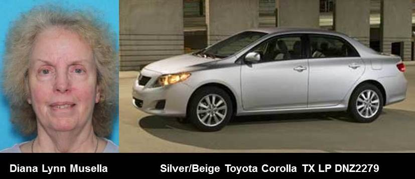 DISCONTINUED SILVER ALERT for Diana Lynn Musella from Athens, TX, on 08/15/18, Texas plate number DNZ2279 <br>http://pic.twitter.com/GoOwOJvpC9