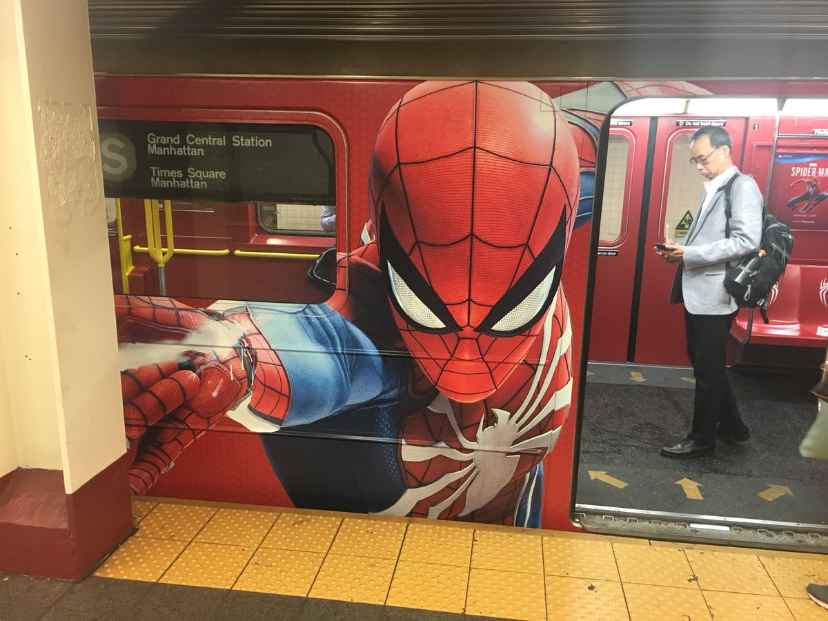 Marvel&#39;s Spider-Man PS4 Marketing ~ Train in NYC (Times Square Shuttle)  New Trailer Released (Open World New York)  https://www. youtube.com/watch?v=yEBp_F 67_DI &nbsp; … <br>http://pic.twitter.com/3S8eMMsiZT
