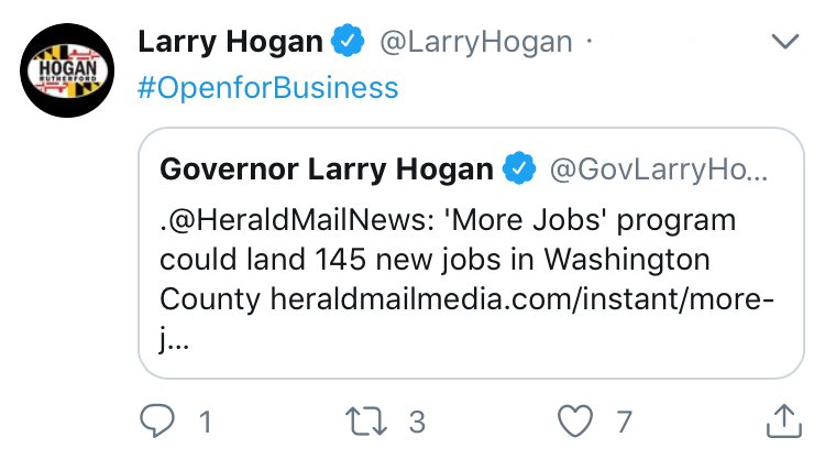 #ThanksHogan!  @BenJealous's actual job is investing in and growing small businesses that benefit society. Maybe it's time we give that strategy a try, because whatever Republican Gov Larry Hogan is doing isn't working. <br>http://pic.twitter.com/7H7wpBG5be