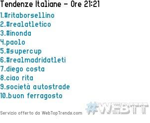 1.#ritaborsellino2.#realatletico3.#inonda4.paolo5.#supercup15/08/2018 21:21 #WebTT  - Ukustom