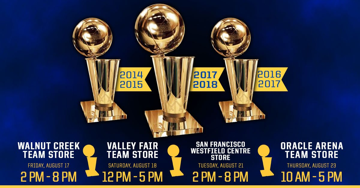 #Celebrate with the @warriors Larry OBrien Trophies 🏆🏆🏆!!! Come to the @warriors_store locations at the times listed for your chance for a Photo Opp with #Warriors #Championship History!