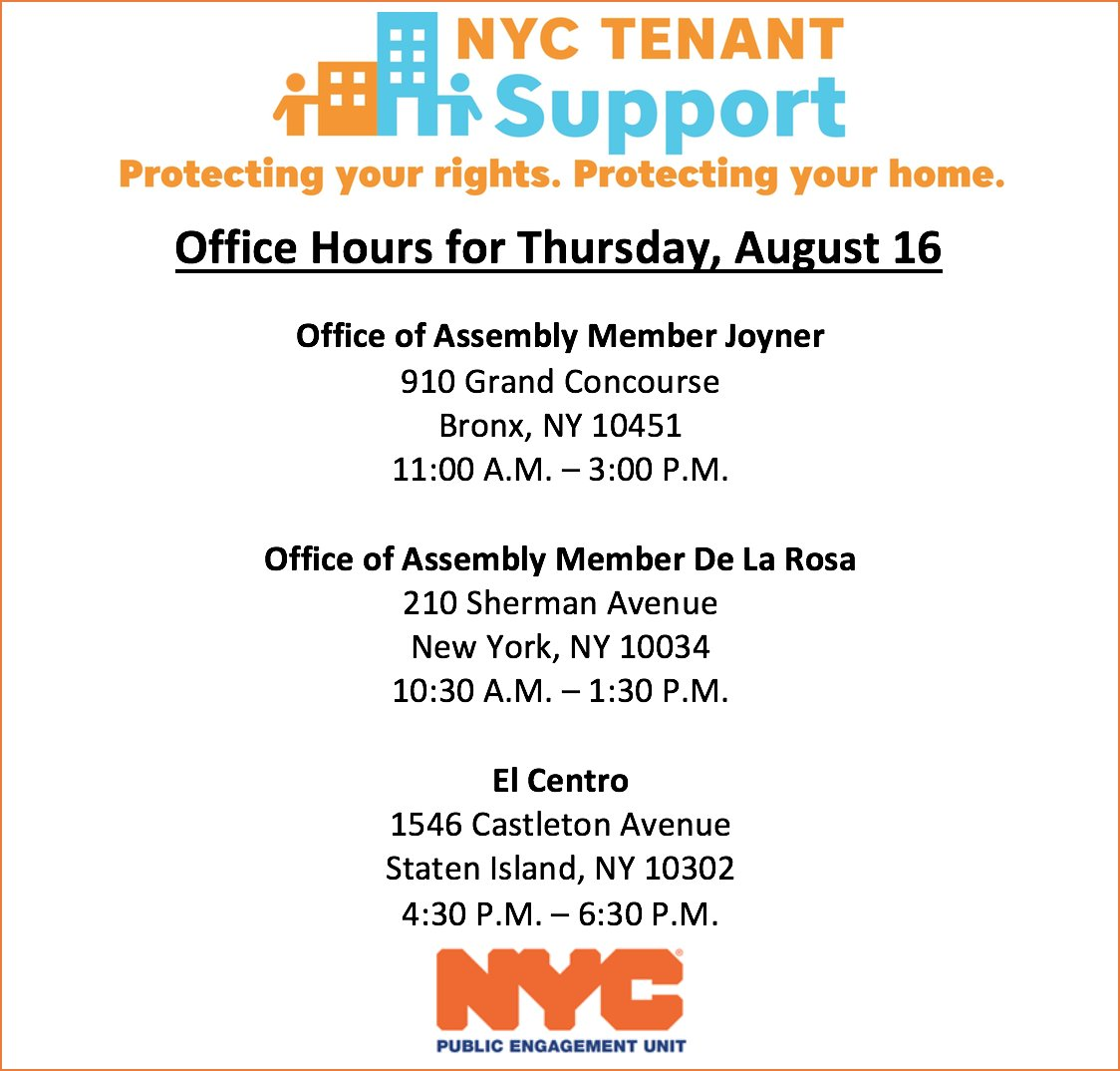 Are you a tenant experiencing landlord harassment, at risk of eviction, or do you need help making home repairs? The NYC Tenant Support Unit offers free assistance in your language. Stop by today&#39;s events w/ @JoinJoyner @CnDelarosa @elcentrony or visit  http:// nyc.gov/TenantSupportU nit &nbsp; … .<br>http://pic.twitter.com/aYVF3mSlKi