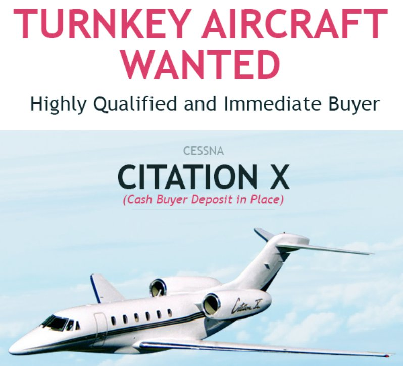 Turnkey #aircraftwanted - #Cessna #CitationX - for highly qualified buyer at Premier Group! Cash buyer deposit in Place. Contact them with your offers at  http:// ow.ly/NwhR30lpQYM  &nbsp;    #bizjet #bizav #privateaviation #privatejet #privateflying #businessaviation<br>http://pic.twitter.com/VmKT5HG4Sb