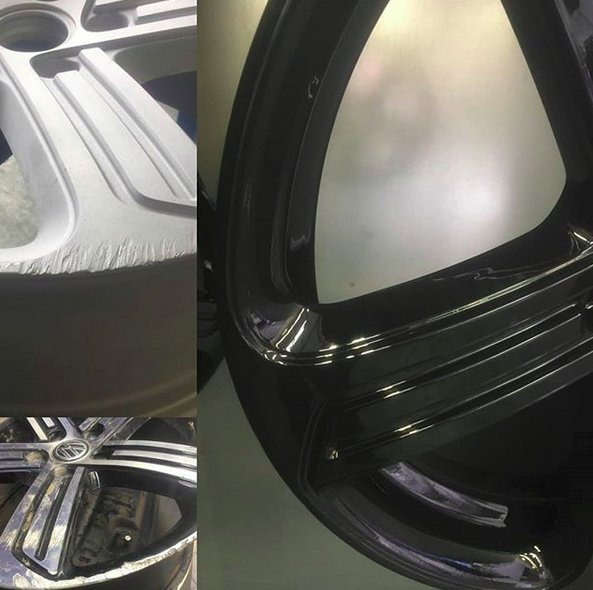 VW Golf Alloy Refurb by Mac Alloys  Refurbished today at Mac Alloys HQ.  Our service includes shotblasting, powder primed and top coat in High Gloss Black powdercoat giving them an amazing shine!!  Visit  http://www. macalloys.co.uk  &nbsp;   for more information.<br>http://pic.twitter.com/FjePZRKkMO