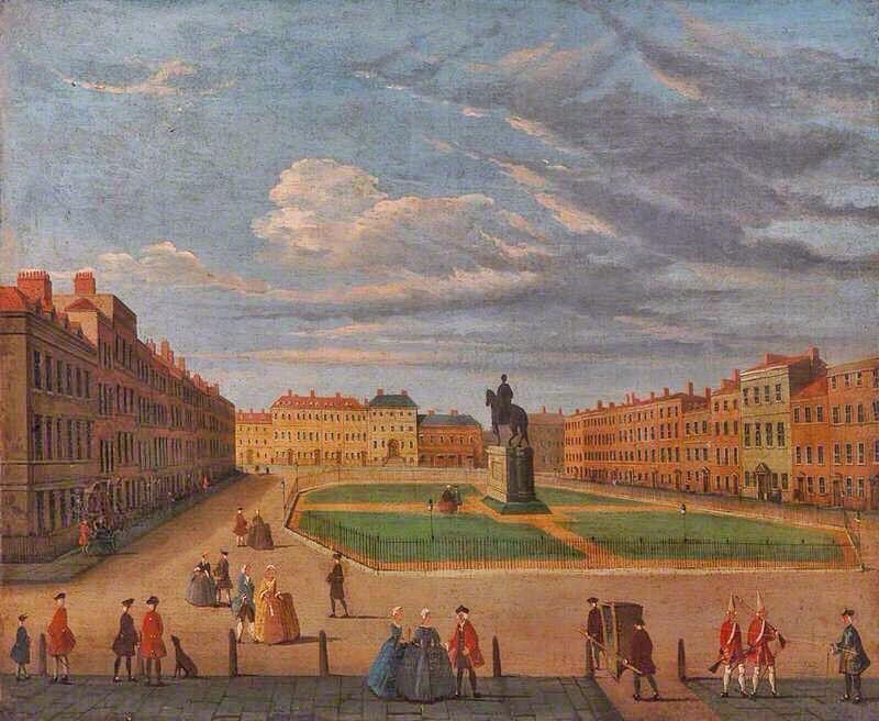 Leicester Square in #London as it looked in the 18th century. There is a special corner of Hell for London&#39;s developers. <br>http://pic.twitter.com/HH6xQn85uw